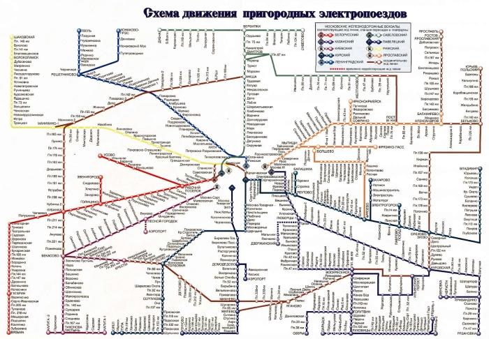 Схема движения пригородных поездов